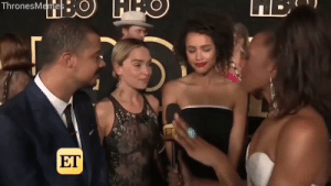 Emilia Clarke, Happy, and How: ThronesMemes  ET Reporter: Are you happy with how things (the show) ended?  Emilia Clarke: https://t.co/8ZMaDJvXii