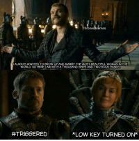 Beautiful, Low Key, and Good: ThronesMemes  I ALWAYS WANTED TO GROW UP AND MARRY THE MOST, BEAUTIFUL WOMAN IN THE  WORLD. SO HERE:I AM WITH A THOUSAND SHIPS AND TWO GOOD HANDS  TRIGGERED  LOW KEY TURNED ON* Jaime got burned so hard 😂 #GameOfThrones https://t.co/jMlaSF6JFQ