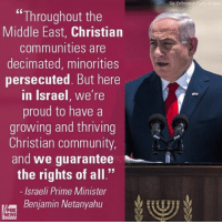 """Community, Donald Trump, and Memes: """"Throughout the  Middle East, Christian  communities are  decimated, minorities  persecuted. But here  in Israel, we're  proud to have a  growing and thriving  Christian community,  and we guarantee  M  the rights of all.""""  Israeli Prime Minister  Benjamin Netanyahu  NEWS  ia Yefimovi Israeli Prime Minister BenjaminNetanyahu spoke about Christian communities during remarks as he welcomed President Donald Trump to Israel."""
