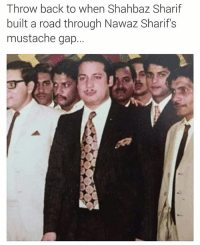 Memes, 🤖, and Gap: Throw back to when Shahbaz Sharif  built a road through Nawaz Sharif s  mustache gap