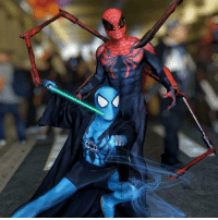 Throwback to my SuperiorSpiderman cosplay with my buddy @nephilim_rising2010's Blue Lantern Spidey. The force was strong with us that day. 😂 I gotta bust out the spider legs again at some point... -- Circa NewYorkComicCon2015 - photo snapped and edited by @rickxtphotos. 👌🏾💯: Throwback to my SuperiorSpiderman cosplay with my buddy @nephilim_rising2010's Blue Lantern Spidey. The force was strong with us that day. 😂 I gotta bust out the spider legs again at some point... -- Circa NewYorkComicCon2015 - photo snapped and edited by @rickxtphotos. 👌🏾💯