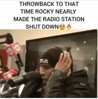 Friends, Memes, and Radio: THROWBACK TO THAT  TIME ROCKY NEARLY  MADE THE RADIO STATION  SHUT DOWN 6 throwback to asaprocky spitting way back with @hot97 ‼️ what you think ⁉️ Follow @bars for more ➡️ DM 5 FRIENDS