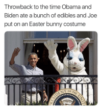 Easter, Funny, and Obama: Throwback to the time Obama and  Biden ate a bunch of edibles and Joe  put on an Easter bunny costume  @Frien Good times