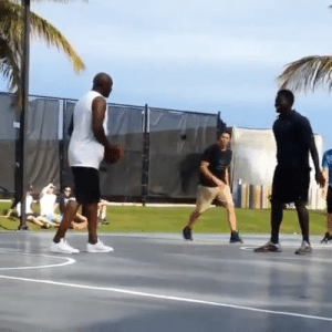 Throwback video of Tom Brady & a trash-talking Michael Jordan playing basketball against Keegan Bradley and Luke Donald!   https://t.co/JYSTtwyrh1: Throwback video of Tom Brady & a trash-talking Michael Jordan playing basketball against Keegan Bradley and Luke Donald!   https://t.co/JYSTtwyrh1