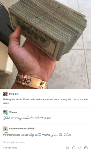 Cum, Money, and Thug: thug-gifs  Reblog this within 10 seconds and unexpected extra money will cum to you this  week  The money will  do uhat now  calamumnomen-official  Financial security will make you, its bitcん  Source: princessplush  438,525 notes Nothings hotter than being fiscally secure