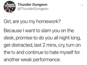 Or do be like that sometimes.: Thunder Thunder Dungeon  Dngeon  @ThunderDungeon  Girl, are you my homework?  Because I want to slam you on the  desk, promise to do you all night long,  get distracted, last 2 mins, cry, turn on  the tv and continue to hate myself for  another weak performance. Or do be like that sometimes.