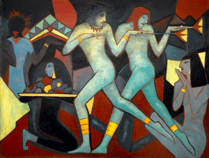 New York, Tumblr, and Brooklyn: thunderstruck9: Anne Estelle Rice (American, 1877-1959), The Egyptian Dancers (Two Egyptian Dancers), 1910. Oil on canvas, 57 x 73 in. Brooklyn Museum, New York via podsteklom