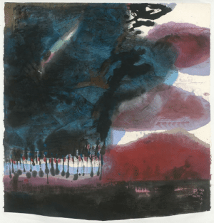 thunderstruck9:  Lee Chung-Chung (Taiwanese, b. 1942), Tender as Water, 2019. Ink and colour on paper, 103.1 x 96.8 cm.: thunderstruck9:  Lee Chung-Chung (Taiwanese, b. 1942), Tender as Water, 2019. Ink and colour on paper, 103.1 x 96.8 cm.