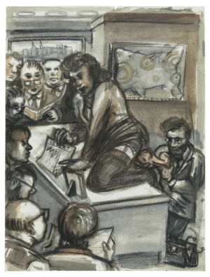 Tumblr, American, and Blog: thunderstruck9:Nicole Eisenman (American, b. 1965), Board Room Birth, 1994. Watercolor, ink and color pencil on paper, 30.2 x 22.5 cm.