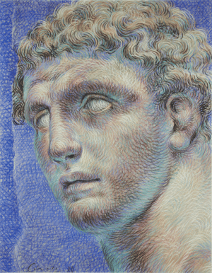 Target, Tumblr, and Blog: thunderstruck9:Ricardo Cinalli (Argentinian, b. 1948), A portrait of Hermes, 1988. Pastel and charcoal, 97.5 x 76.5 cm.