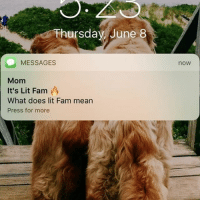 """New project: change the family group chain to """"its lit fam"""" and watch your mom get confused: Thursdav June 8  now  MESSAGES  Mom  It's Lit Fam  What does lit Fam mean  Press for more New project: change the family group chain to """"its lit fam"""" and watch your mom get confused"""