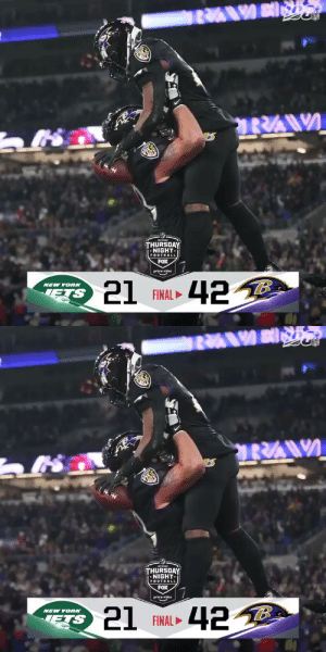 FINAL: The @Ravens clinch the AFC North! #RavensFlock #NYJvsBAL  (by @Lexus) https://t.co/PaJJTdtsho: THURSDAY  •NIGHT-  FOOTBALL  FOX  prime video  21 FINAL 42 B  NEW YORK   THURSDAY  NIGHT.  FOOTBALL  FOX  prime video  21 FINAL ►  NEW YORK  ETS FINAL: The @Ravens clinch the AFC North! #RavensFlock #NYJvsBAL  (by @Lexus) https://t.co/PaJJTdtsho