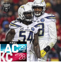 Football, Lexus, and Memes: THURSDAY  NIGHT  FOOTBALL  FOX  prime video  CERS  </ARGERS  FINAL  28 FINAL: The @Chargers defeat the Chiefs to improve to 11-3! #LACvsKC  #FightForEachOther  (by @Lexus) https://t.co/QiaRVk6nEN