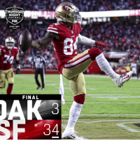 FINAL: @49ers dominate on #TNF! #OAKvsSF #GoNiners  (by @Lexus) https://t.co/kZCWSwPFEx: THURSDAY  NIGHT  FOOTBALL  FOX  prime video  FINAL FINAL: @49ers dominate on #TNF! #OAKvsSF #GoNiners  (by @Lexus) https://t.co/kZCWSwPFEx