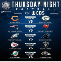 Fourth year of Thursday Night Football on CBS includes five consecutive games, kicking off September 28 with CHIvsGB: THURSDAY NIGHT  TEOOTBAL  F O O B A L L  ON OCBS  SEPTEMBER 28TH  8:25PM, ET  VS  CHICAGO BEARS  GREEN BAY PACKERS  OCTOBER 5TH  8:25PM, ET  NEWENGLAND PATRIOTS  VS  TAMPA BAY BUCCANEERS  OCTOBER 12TH  8:25PM, ET  PHILADELPHIA EAGLES  VS  CAROLINA PANTHERS  RAIDERS  OCTOBER 19TH  8:25PM, ET  VS  KANSAS CITY CHIEFS  OAKLAND RAIDERS  OCTOBER 26TH  8:25PM, ET  VS  MIAMI DOLPHINS  BALTIMORE RAVENS Fourth year of Thursday Night Football on CBS includes five consecutive games, kicking off September 28 with CHIvsGB