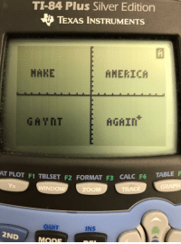 America, Zoom, and Calc: TI-84 Plus Silver Edition  TEXAS INSTRUMENTS  MANE  AMERICA  MGAI  AT PLOT F1 TBLSET  F2 FORMAT F3 CALC F4 TABLE F  WINDOW  ZOOM  TRACE  QUIT  INS  2ND  MODE