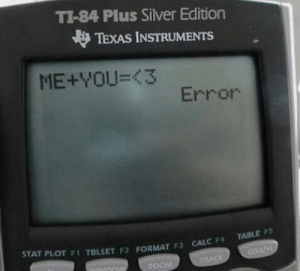 Calc, Silver, and Texas: TI-84 Plus Silver Edition  TEXAS INSTRUMENTS  ME+YOU=(3  Error  STAT PLOT F1 TBLSET F2 FORMAT 3  CALC F TABLE FS