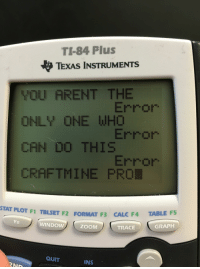 Zoom, Calc, and Texas: TI-84 Plus  TEXAS INSTRUMENTS  YOU ARENT THE  ONLY ONE WH  CAN D0 THI  CRAFTMINE PRO  Error  Error  STAT PLOT F1 TBLSET F2 FORMAT F3 CALC F4  WINDOW  ZOOM  TRACE  GRAP  QUIT  INS