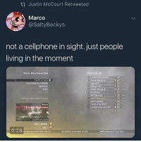 Beautiful, Game, and Dank Memes: ti Justin McCourt Retweeted  Marco  @SaltyBeckys  not a cellphone in sight. just people  living in the moment  21  CREATE ACIASS  CALLSIGN R KRISTA  RARRACKS  INVITE  COBIZZLE  70 1  70900  70  54  Bailout  45 720  GAME SUMMARY  RACK This is beautiful 😢