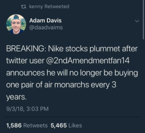 Bankruptcy incoming: ti kenny Retweeted  Adam Davis  @daadvaims  BREAKING: Nike stocks plummet after  twitter user @2ndAmendmentfan14  announces he will no longer be buying  one pair of air monarchs every 3  years.  9/3/18, 3:03 PM  1,586 Retweets 5,465 Likes Bankruptcy incoming