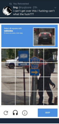"Click, Fucking, and Google: ti You Retweeted  ling @ryujicore 21h  i can't get over this i fucking can't  what the fuck???   Select all squares with  vehicles  If there are none, click skip  SKIP callmebliss:  ringoroadagain: друг  Google Translate: ""friend"""
