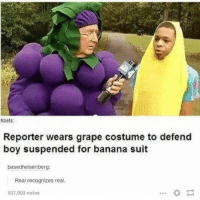 Funny, Banana, and Boy: tibets  Reporter wears grape costume to defend  boy suspended for banana suit  basedheisenberg:  Real recognizes real.  537,903 notes Real recognize real https://t.co/UyFryu3jr9
