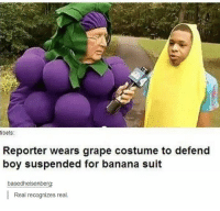 Banana, Boy, and Grape: tibets:  Reporter wears grape costume to defend  boy suspended for banana suit  basedheisenberg  Real recognizes real. Real recognizes real https://t.co/jAbYHDjUOY