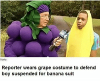 """<p>these are some grape people. via /r/wholesomememes <a href=""""http://ift.tt/2jVUqwu"""">http://ift.tt/2jVUqwu</a></p>: tibets:  Reporter wears grape costume to defend  boy suspended for banana suit <p>these are some grape people. via /r/wholesomememes <a href=""""http://ift.tt/2jVUqwu"""">http://ift.tt/2jVUqwu</a></p>"""