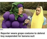 Banana, Boy, and How: tibets:  Reporter wears grape costume to defend  boy suspended for banana suit He stood up for him! How sweet!