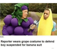 banana suit: tibets:  Reporter wears grape costume to defend  boy suspended for banana suit