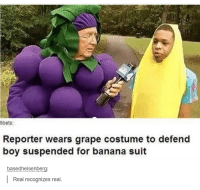 Funny, Banana, and Suits: tibets:  Reporter wears grape costume to defend  boy suspended for banana suit  based heisenberg  Real recognizes real.