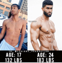 """Memes, Arab, and Dubai: TIBO NORMAN  PHOTOGRAPHY  I G  LEGION S  PRO D U C T I O N  AGE: 17  AGE: 24  183 LBS  132 LBS 🔥😳INSANE TRANSFORMATION! From 🇦🇪 Dubai! Founder 👉: @king_khieu. From 17 years old to 24 years old. Weight before: 132 lbs or 60 kg. Weight after: 183 lbs or 83 kg. Thoughts? Opinions🤔? What do you guys think? COMMENT BELOW! Athlete: @ommie10. Photography 📸: @tibonorman. TAG SOMEONE who needs to lift! _________________ Looking for unique gym clothes? Use our 10% discount code: LEGIONS10🔑 on Ape Athletics 🦍 fitness apparel! The link is in our 👆 bio! _________________ Check out our principal account: @fitness_legions for the best fitness and nutrition information! Like✅ us on Facebook👉: """"Legions Production"""" for a chance at having a shoutout. @legions_production🏆🏆🏆 . . . . . . . run running runner athlete athletes athletic sport sports calves quadzilla arab arabic quad quadriceps hamstrings glutes backworkout back backday chest chestday chestworkout traps delts shoulder shoulders pecs shreds shred shredz"""
