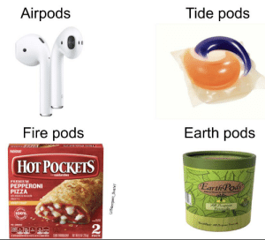 Together, they are unbeatable: Tide pods  Airpods  Earth pods  Fire pods  НOT РОСКЕTS  $andwiches  PREMIUM  PEPPERONI  Earth Pads  PIZZA  wih reduced to ma  chei  CRISPY CRUST  nt Food C  utral thar  J00  All Parpose  Formula  100%  2  330  530  CDOK THORBUGHLY  NET WTS 02(255PACK  E  N  NN  U/Seargent Sushi1 Together, they are unbeatable