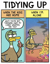 Being Alone, Candy, and Children: TIDYING UP  WHEN THE KIDS  ARE HOME  WHEN I'M  ALONE  WAIT! YOU'RE NOT  THROWING AWAY MY  CANDY WRAPPER,  ARE YOU?  ILnguage Com s.com  ©Brian Gordon My children are hoarders. Bonus Panel (below) Glasses! FowlLanguageStore.com
