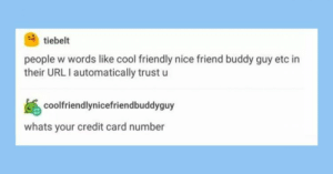 21 Tumblr Posts That Deserve Your Attention Today: tiebelt  people w words like cool friendly nice friend buddy guy etc in  their URL I automatically trust u  coolfriendlynicefriendbuddyguy  whats your credit card number 21 Tumblr Posts That Deserve Your Attention Today