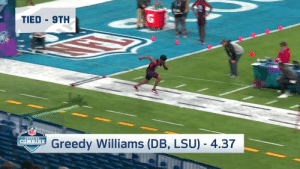 The 10 FASTEST 40-yard dash times at the 2019 #NFLCombine!  Who's No. 1?  🔥⏱ https://t.co/X8vwsTqbKg: TIED 9TH  NFL  Greedy Williams (DB, LSU) - 4.37  | COMBINE The 10 FASTEST 40-yard dash times at the 2019 #NFLCombine!  Who's No. 1?  🔥⏱ https://t.co/X8vwsTqbKg