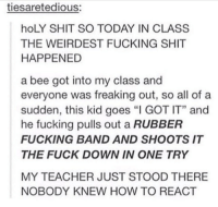 """Fucking, Memes, and Shit: tiesaretedious:  hoLY SHIT SO TODAY IN CLASS  THE WEIRDEST FUCKING SHIT  HAPPENED  a bee got into my class and  everyone was freaking out, so all of a  sudden, this kid goes """"I GOT IT"""" and  he fucking pulls out a RUBBER  FUCKING BAND AND SHOOTS IT  THE FUCK DOWN IN ONE TRY  MY TEACHER JUST STOOD THERE  NOBODY KNEW HOW TO REACT https://t.co/1Xc7G1iXv0"""