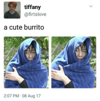 Cute, Memes, and Tiffany: tiffany  @firtslove  a cute burrito  2:07 PM 08 Aug 17 I like burritos bangtansonyeondan bangtanboys bangtan BTS btsmeme v Jungkook jhope Jimin jin suga rapmonster kpopexlikes kpop kpoplfl kpopf4f beyondthescenes bighit btsarmy btsf4f Korea kpopmemes kpopmeme