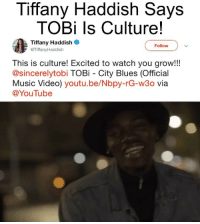 Memes, Music, and youtube.com: Tiffany Haddish Says  TOBi ls Culture!  Tiffany Haddish  @TiffanyHaddish  Follow  This is culture! Excited to watch you grow!!!  @sincerelytobi TOBi City Blues (Official  Music Video) youtu.be/Nbpy-rG-w3o via  @YouTube @sincerelytobi with the big @iamjamiefoxx cosign