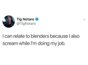 Scream, Job, and Can: Tig Notaro  @TigNotaro  I can relate to blenders becauselalso  scream while I'm doing my job. Just internally.