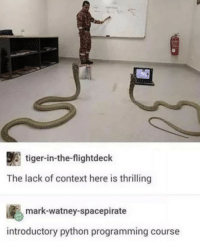 Im glad theyre getting an education: tiger-in-the-flightdeck  The lack of context here is thrilling  ig., mark-watney-spacepirate  introductory python programming course Im glad theyre getting an education
