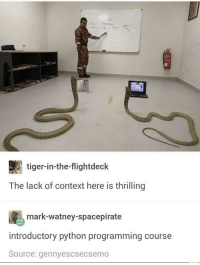 Just your average Python course..: tiger-in-the-flightdeck  The lack of context here is thrilling  mark-watney-spacepirate  introductory python programming course  Source: gennyescsecsemo Just your average Python course..