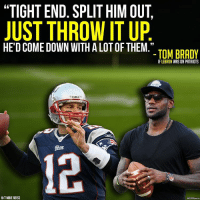 "Memes, Brady, and 🤖: ""TIGHT END. SPLIT HIM OUT,  JUST THROW IT UP  HE DCOME DOWN WITH ALOTOF THEM.""  TOM BRADY  IF LEBRON WAS ON PATRIOTS  HTMIKEREISS  SCB$Sports Tom & LeBron..."
