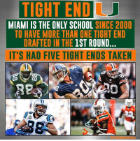 The Miami Hurricanes have a knack for tight ends.: TIGHTENDU  MIAMI IS THE ONLY SCHOOL  SINCE 2000  TO HAVE MORE THAN ONE TIGHT END  DRAFTED IN THE 1ST ROUND  IT'S HAD FIVE TIGHT ENDS TAKEN The Miami Hurricanes have a knack for tight ends.
