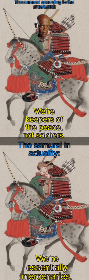 The Samurai: Tihe samurail aaording to the  unaultured:  We're  keepers of  the peace,  not soldiers  The samural In  actuality:  We're  essentially The Samurai