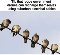 Drones, Rogue, and Government: TIL that rogue government  drones can recharge themselves  using suburban electrical cables