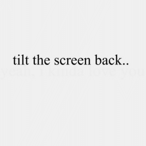 Tilt, Back, and Tilt-The-Screen: tilt the screen back..