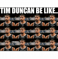 NBA's Next Top Model. 😐😐😐😐: TIM DUNCAN BE LIKE.  happy  hopeful  sad  confused  disgusted  ecstatic  tired  @NBAMEMES  proud  game face  angry  MVP NBA's Next Top Model. 😐😐😐😐
