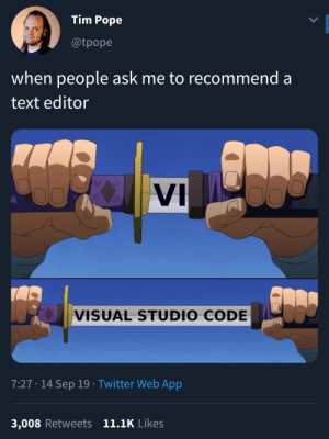 Well well well: Tim Pope  @tpope  when people ask me to recommend a  text editor  WAI  VI  VISUAL STUDIO CODE  7:27 14 Sep 19 Twitter Web App  3,008 Retweets 11.1K Likes Well well well