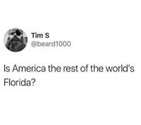 America, Memes, and Florida: Tim S  abeard1000  Is America the rest of the world's  Florida? Sometimes I wonder via /r/memes http://bit.ly/2AliX9B